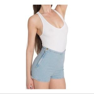 American Apparel High Waisted Jean Shorts Size L